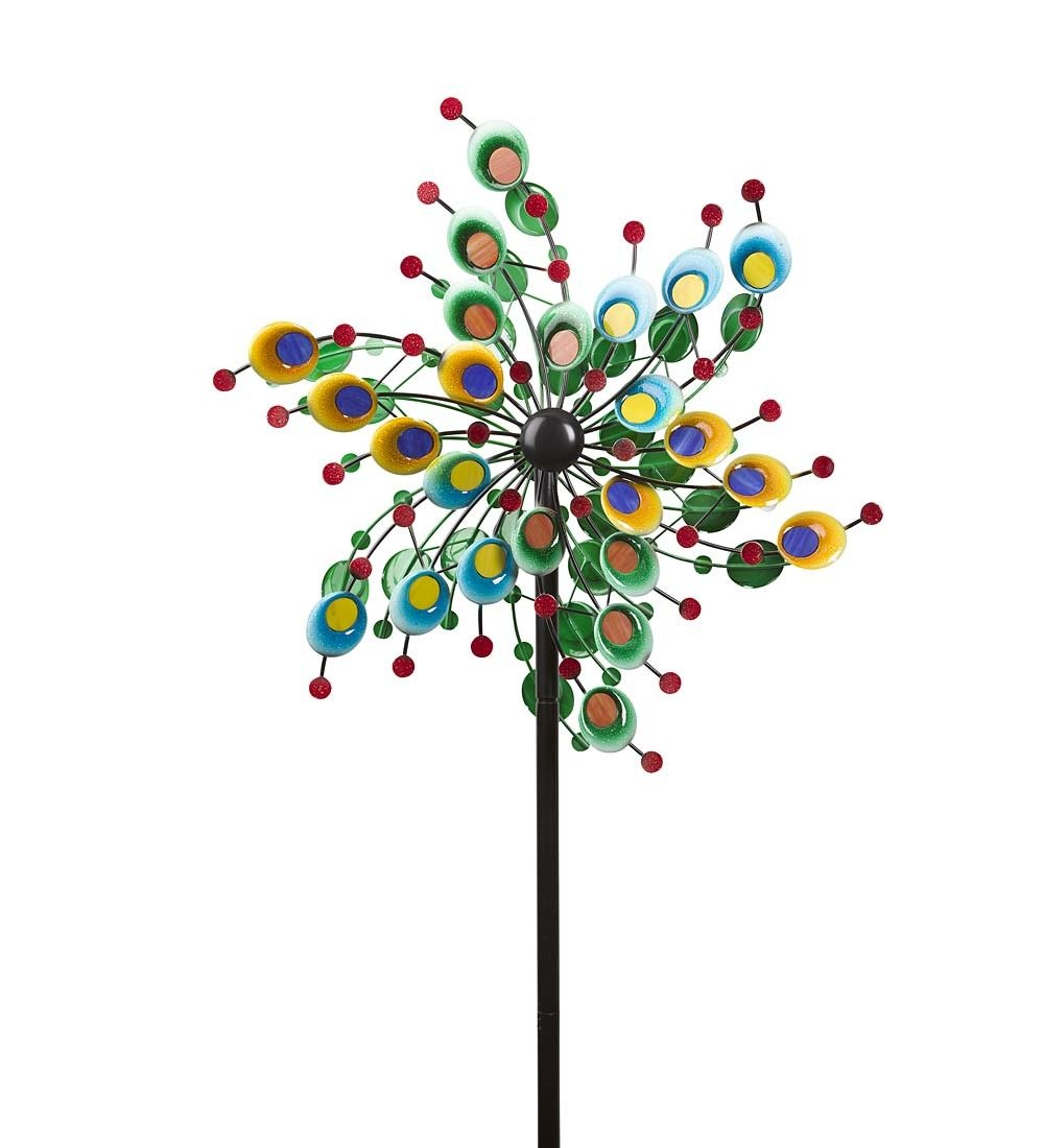 Outdoor Metal and Glass Confetti Garden Wind Spinner Decorative Colorful Windmill Yard Lawn Art 24 dia. x 10 D x 75 H Inches