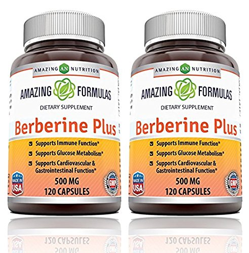 Amazing Nutrition Berberine Plus 1000mg Per Serving 120 Capsules – Supports immune system – Supports glucose metabolism – Aid in healthy weight management – (2 Pack)