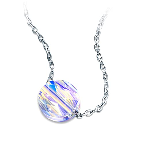 Necklace, ZHULERY Crystals from Swarovski Pendant With Simple oval 925 Sterling Sliver, 18 2 Extender Chain Fine Jewellry for Mother s Day