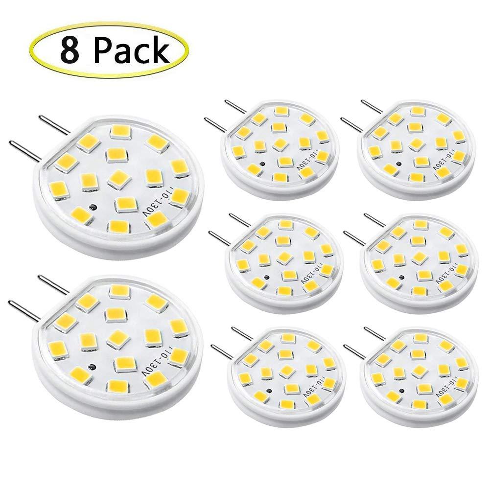 G8 調光機能付きLED電球 AC110-130V G8 3ワット 温白色 3000K 照明相当 20W-25W ハロゲン電球 カウンター下 キッチン照明 キャビネット下 パックライト G8バイピンベース (8個パック) B07K9Q7MY1