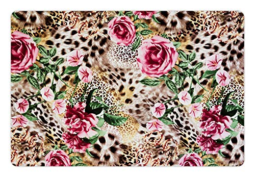 Lunarable Leopard Pet Mat for Food and Water, Exotic Jungle Nature Theme with Furry Animal Skin Pink Rose and Hibiscus Blossoms, Non-Slip Rubber Mat for Dogs and Cats, 18
