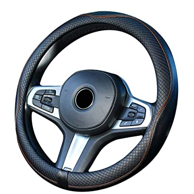 DuoDuoBling Genuine Leather Steering Wheel Cover 15 Inch for Men 2020 New Automotive Cute Jeep Car Interior Accessories (Coffee): Automotive