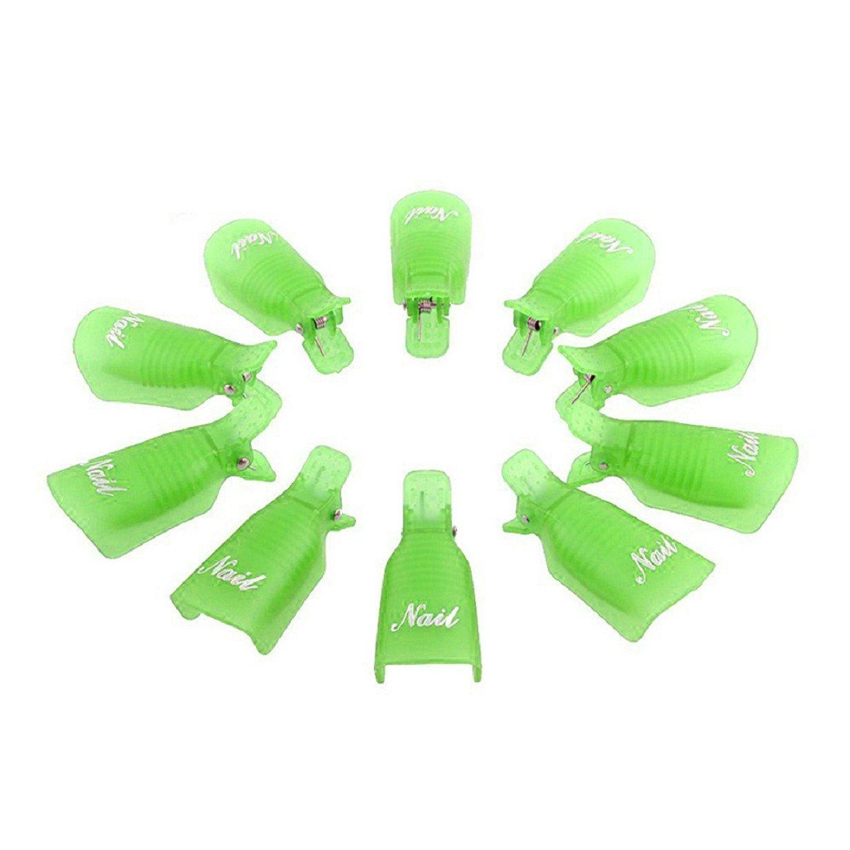 ABC® 10PC Plastic Nail Art Soak Off Cap Clip UV Gel Polish Remover Wrap Tool (Green) ABC®-1234