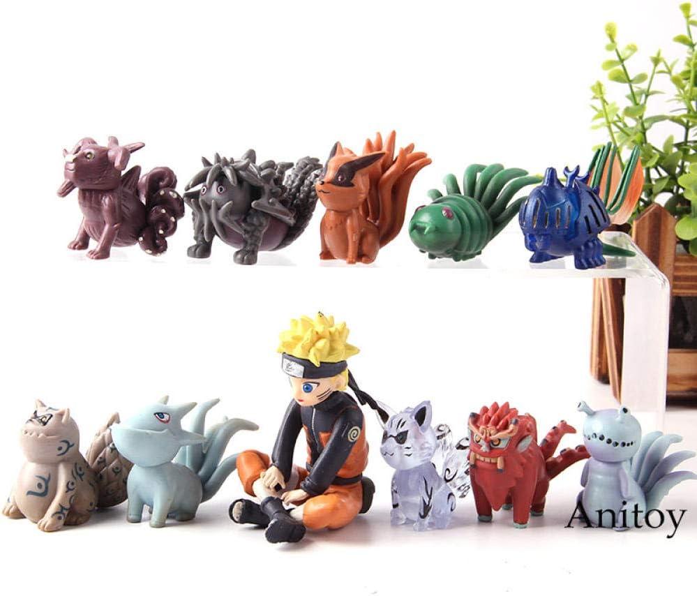 11 Pcs//Set Naruto Bijuu Shukaku Kyuubi Kitsune Hachimata Houkou PVC Figure Model