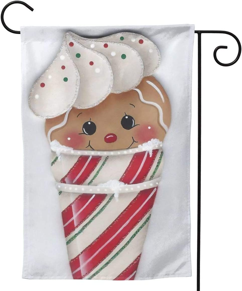 MINIOZE Ice Cream Christmas Gingerbread Man Big Large Jumbo Party Themed Flag Welcome Outdoor Outside Decorations Ornament Picks Garden Yard Decor Double Sided 12.5X 18 Flag