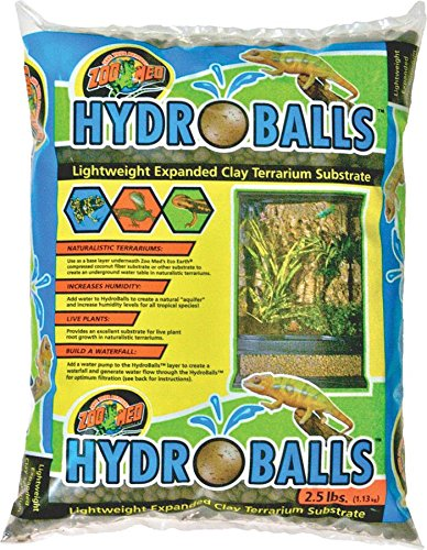 Terrarium Reptile Waterfall (Zoo Med HydroBalls Lightweight Expanded Clay Terrarium Substrate, 2.5 Pounds)