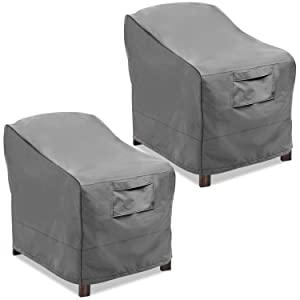 Vailge Patio Chair Covers, Lounge Deep Seat Cover, Heavy Duty and Waterproof Outdoor Lawn Patio Furniture Covers (2 Pack - Small, Grey)