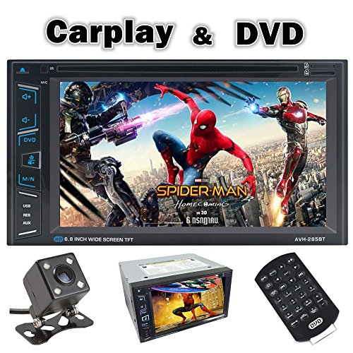 2018 Ewalite Double DIN Car Stereo Multimedia DVD Receiver with 6.8″ WVGA Display/Apple CarPlay/Android Auto/Built-in Bluetooth/SiriusXM-Ready/Remote Control/AppRadio Mode+ Rear View Camera