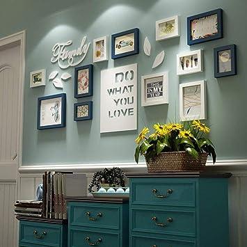 Foto combinación pared jardín carta dormitorio sala de estar madera maciza creativa foto creativa decoración de la pared marco de fotos pared Kun Peng shop (color: todo blanco): Amazon.es: Bricolaje y herramientas