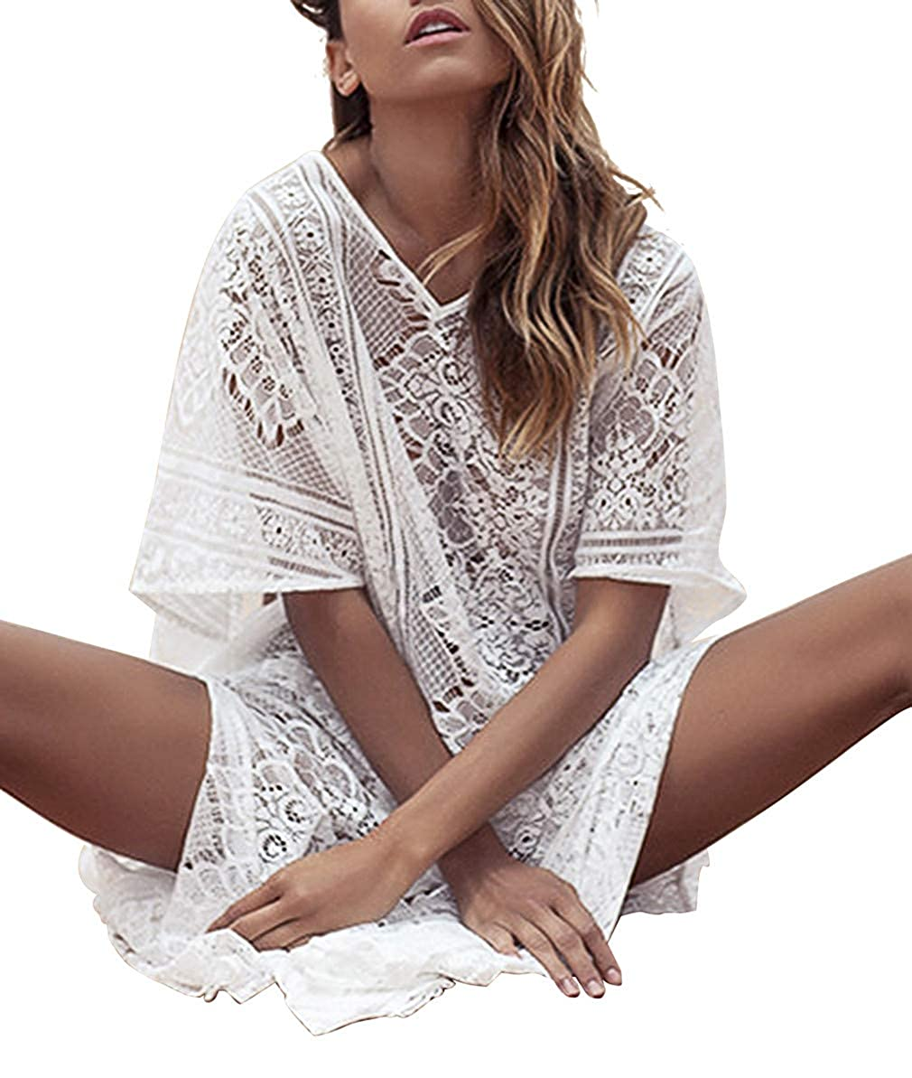 a8790dc02592e Chic Lace Mesh Maxi Bikini Cover Up Dresses Boho Beach Dress Long Beach  Cover Up for Women and Ladies. Features: Short sleeve, Loose style, V Neck,  ...