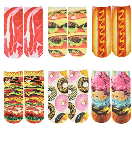 Zmart Women's Cotton Ankle Socks 3D Multi Pattern Printed Pack of 6,Multicoloured,US 5-9,Multicoloured,US 5-9 ()