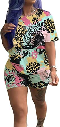 FSSE Womens Summer Slim Short Sleeve Print T-Shirt & Shorts 2-Piece Outfit