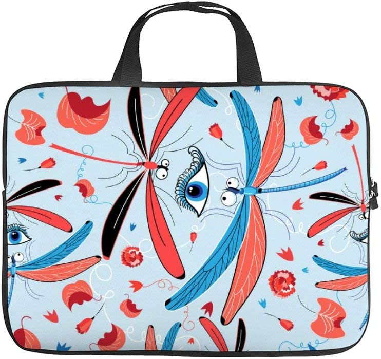 Neoprene Sleeve Laptop Handle Bag Handbag Notebook Case Cover,Seamless Bright Dragonfly Pattern and Eyes Portable MacBook Laptop/Ultrabooks Case Bag Cover 15-15.6 Inch