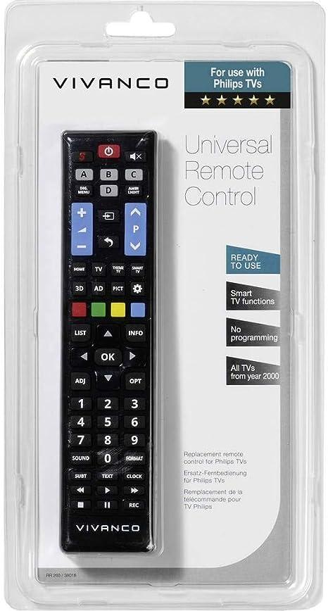 Vivanco RR 260 - Mando a Distancia (TV, IR inalámbrico, Botones, Negro): Amazon.es: Electrónica