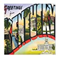 Greeting from Kentucky Old Travel Poster Sandstone Coasters Square Set of 4
