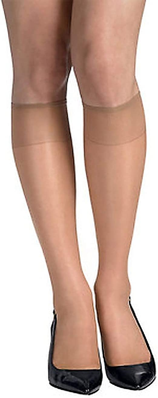 3 Pair Sandal Foot,Nylon//Spandex,Made in USA Hanes Silk Reflections Thigh High