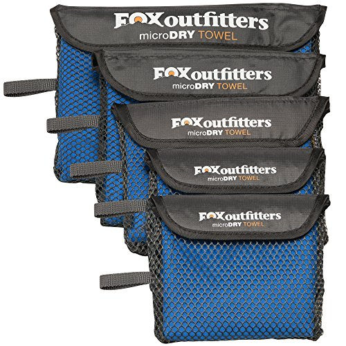 Fox Outfitters MicroDry Towel - Ultra Compact Quick Dry Microfiber Camping & Travel Towel with Hang Loop Snap. Lightweight & Great for Backpacking, Hiking, Sports. (Blue - Small)