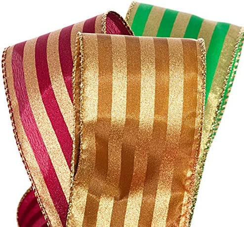 """Wired BURGUNDY RIBBON-GOLD VINES Christmas Bows Decoration Crafts Mantel 5ydx2/"""""""