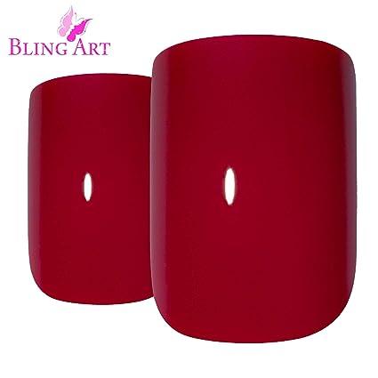 Uñas Postizas Bling Art Rojo Pulido 24 Squoval Medio Falsas puntas acrílicas con pegamento
