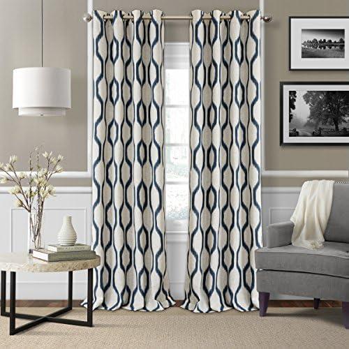 Elrene Home Fashions Renzo Ikat Geometric Linen Room Darkening Window Curtain Panel, 52 x 95 1, Indigo