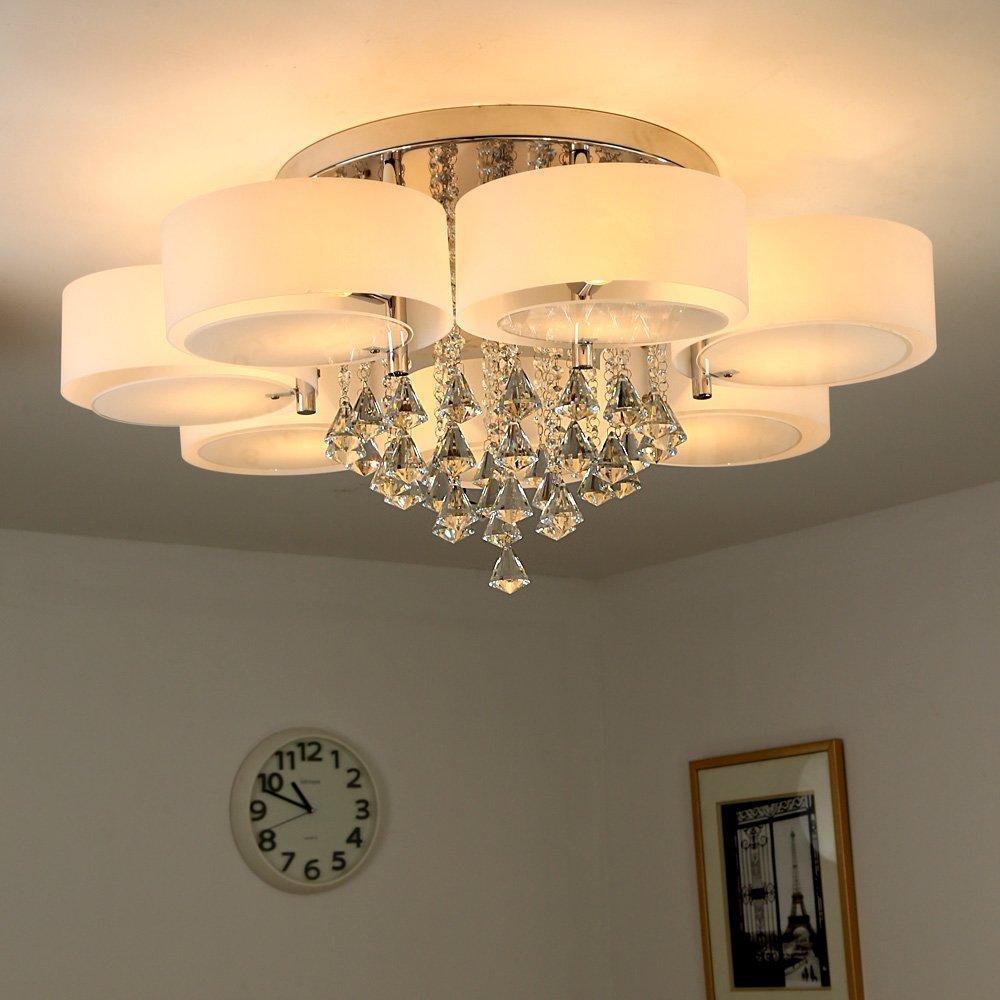 NatsenR 49W Kristall Deckenleuchte 7 Flammig LED E27 Warmweiss 90cm Designer Wohnzimmer Lampe Amazonde Beleuchtung