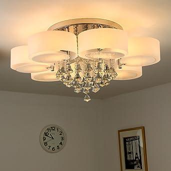 NatsenR 49W Kristall Deckenleuchte 7 Flammig LED E27 Warmweiss 90cm Designer Wohnzimmer Lampe