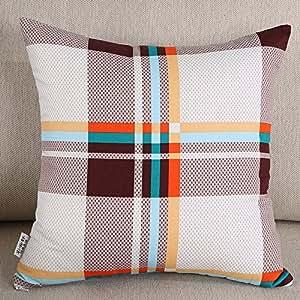 cushionliu algodón Hold funda de almohada Set de silla de oficina cojín para Leaning On de sofá almohadas Set Back Set contiene no Core Hold funda de almohada 60* 60(sin almohada núcleo) algodón doble–Curry Grid