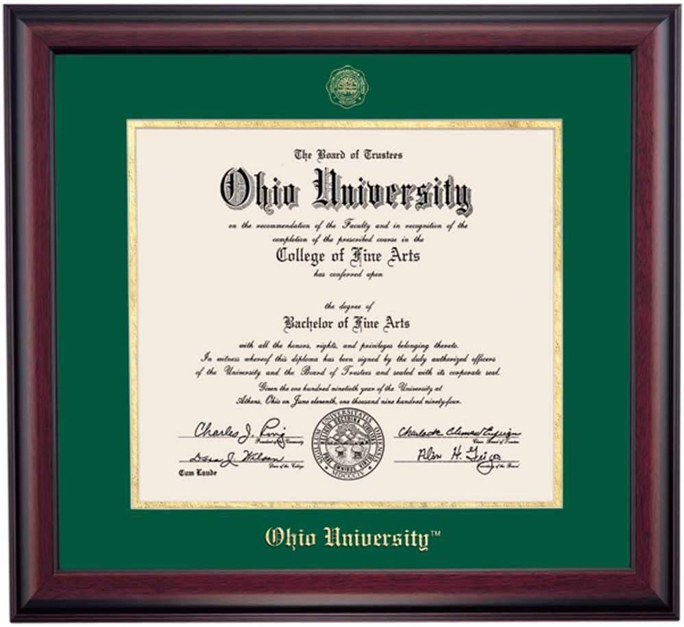 Amazon Com Ocm Diploma Frames Ohio University Bobcat Displays Diploma Certificate 11 X 14 Hunter Gold Mat Home Office Office Professional Education Framed Diploma Graduation Gifts Custom Frame