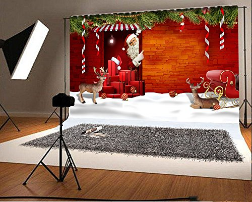 (Photography Background Vinyl 10x8ft Christmas Theme Snow Scene Santa Claus Pattern Backdrop Studio Props Merry)