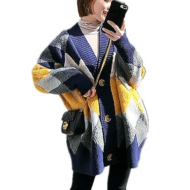Fanessy - Abrigo - Capa - Cuadros - para Mujer Bleu Foncé Talla única: Amazon.es: Ropa y accesorios