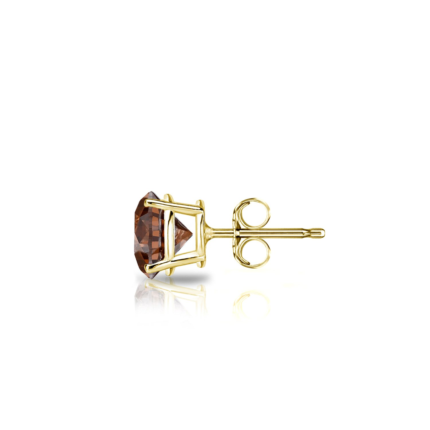 Diamond Wish 14k Yellow Gold Single Stud Round Brown Diamond Earring (1/2 ct, Brown, SI1-SI2) 4-Prong Basket with Push-Back by Diamond Wish (Image #2)