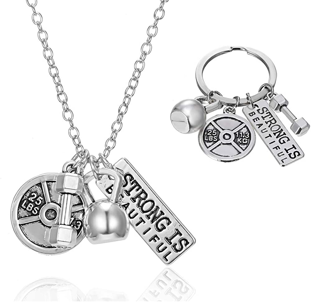 NEW Kettlebell Barbell Dumbbell Plate and I Can Necklace FREE SHIPPING