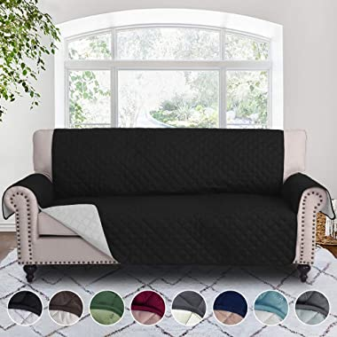 RHF Reversible Sofa Cover, Couch Covers for 3 Cushion Couch, Couch Covers for Sofa, Couch Cover, Sofa Covers for Living Room,Couch Covers for Dogs, Sofa Slipcover, Couch Protector(Sofa: Black/Gray)