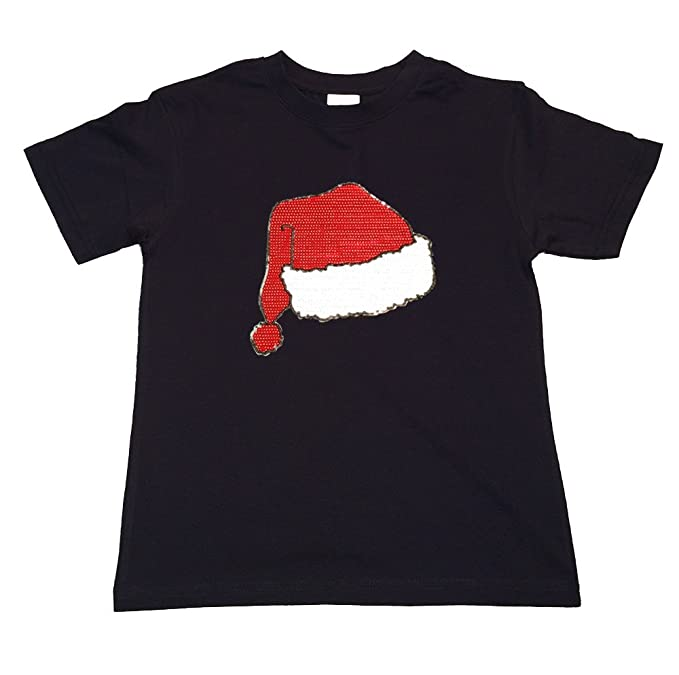 29f4797693bb7 Amazon.com  Girl s T-shirt with Santa Hat in Sequence  Clothing