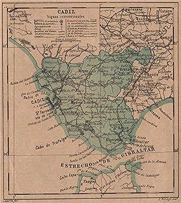 Cádiz. CÁDIZ. Andalucía. Mapa Antiguo de la Provincia – 1908 – Old Antiguo Mapa Vintage – Mapas de Impreso de España: Amazon.es: Hogar