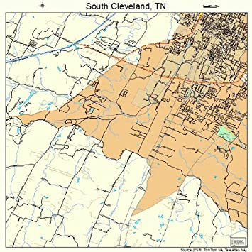 Amazon.com: Large Street & Road Map of South Cleveland, Tennessee TN ...