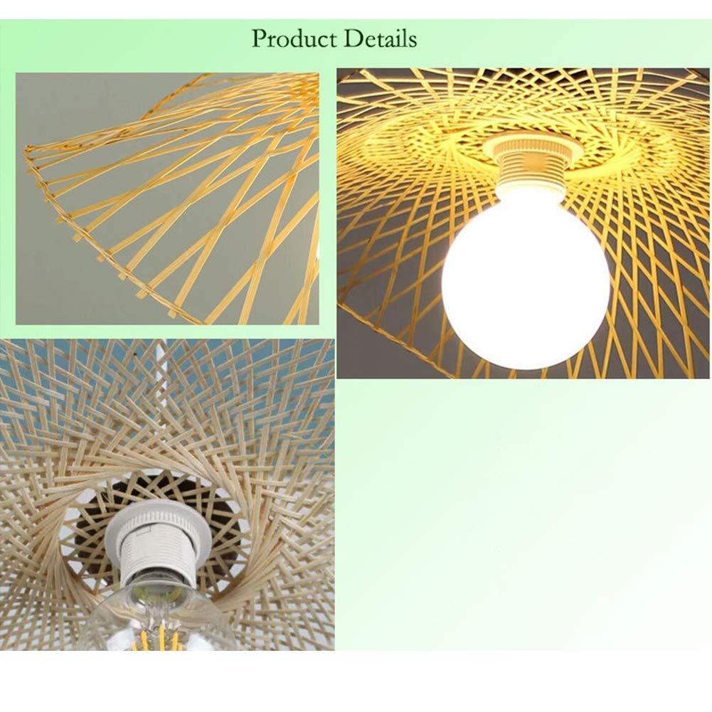 Lampe Plafond En Bambou Fine pour Cuisine Lampe /à Suspension Style Moderne Avec Art Design Lampe /à Suspension Chambre et Salle /à Manger Diam/ètre 35cm E27 Salon Hall Lustre Lampe Suspension LED