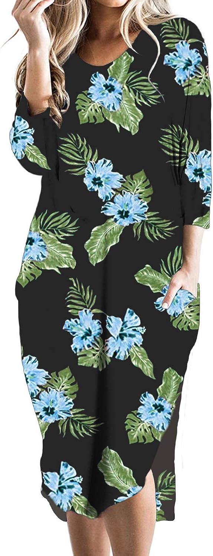 CNFIO Robe Grande Taille Robe Longue Femme Robe Automne Femme D/écontract/ée Asym/étrique avec Manches Longues