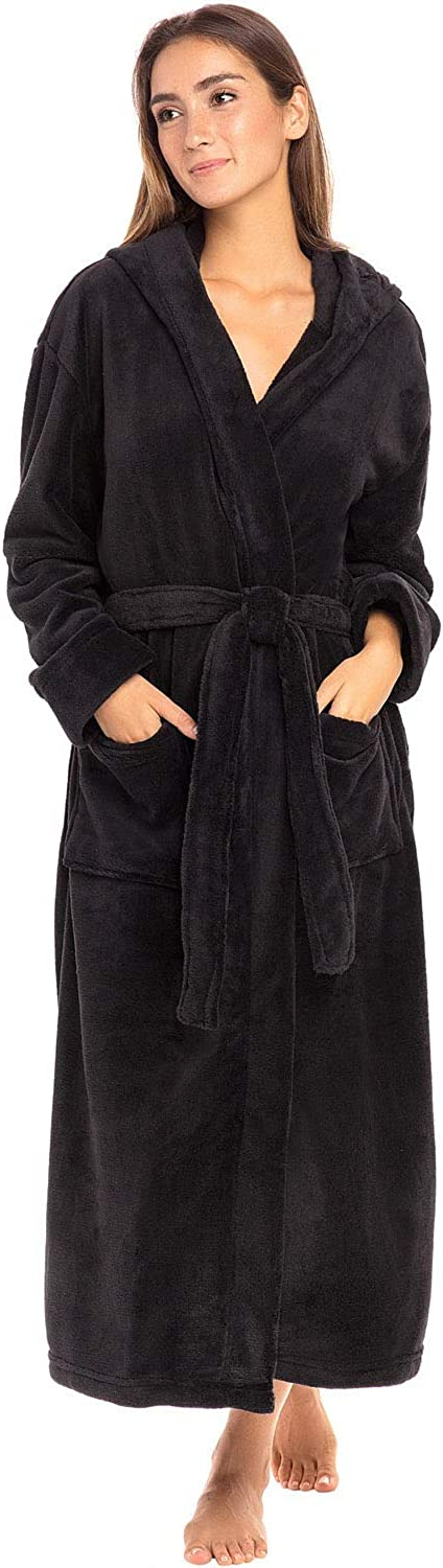 Alexander Del Rossa Women's Plush Fleece Robe with Hood, Warm Solid Bathrobe