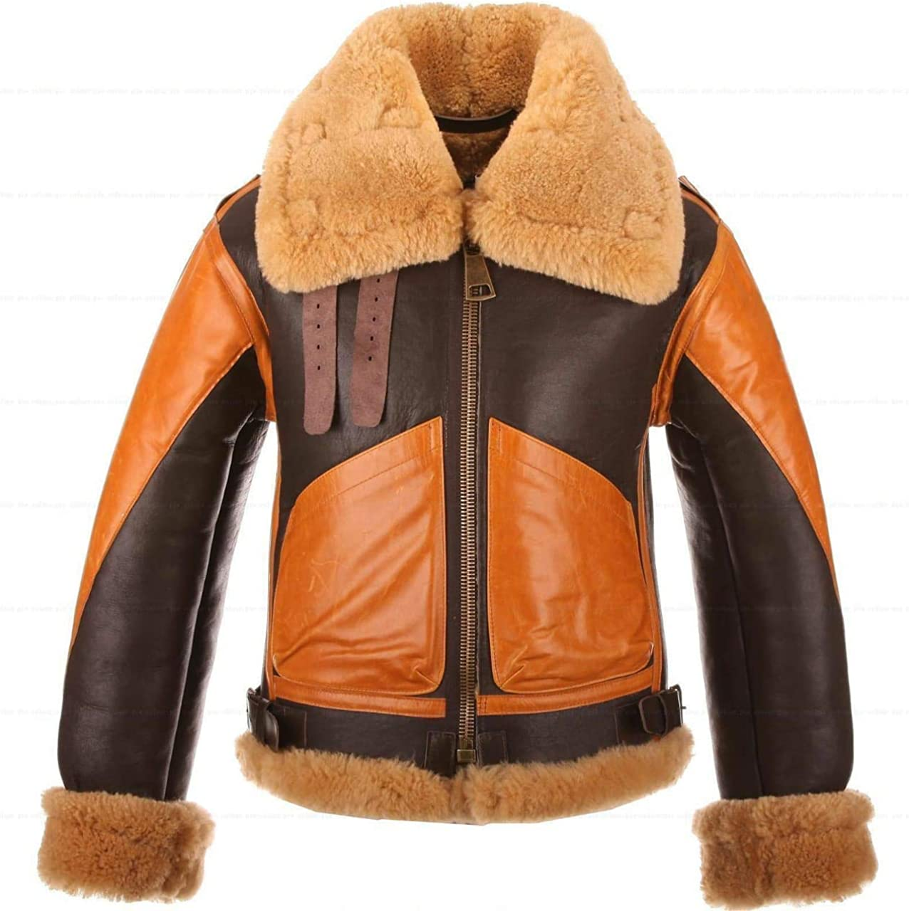 Brown Bomber WWII Pilot Real Sheepskin Shearling Aviator Leather Jacket