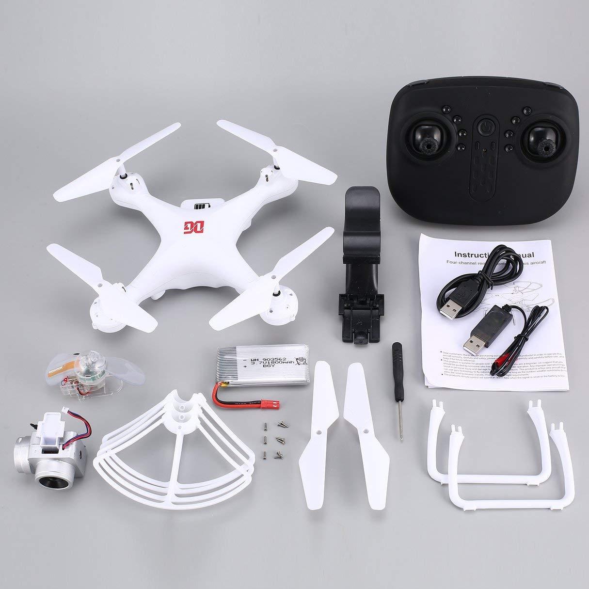 Wafalano Fernbedienung, XG183 2.4G RC Selfie-Drohne FPV Quadcopter mit 720P-Kamera Echtzeit-Höhenlage Halten Sie die LED-Flash-Wort-programmierbare Requisiten EIN