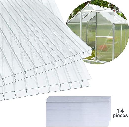 Hengda - Planchas alveolares de cámaras huecas para invernadero de jardín, placas de repuesto de 14 x placas de policarbonato de doble puente (60, 5 x 121 cm) 4 mm de 10, 25 m2: Amazon.es: Jardín