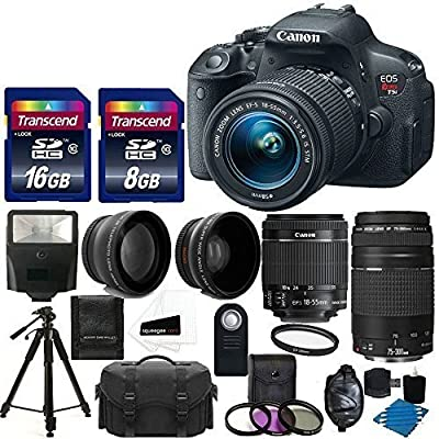 Canon EOS Rebel T5i Digital Camera HD Video & EF-S 18-55 f/3.5-5.6 IS STM Lens + 75-300 f/4-5.6 III Telephoto Lens + 58mm 2x Lens +Wide Angle Lens +Wireless Remote +Uv Filter Kit +24GB Complete Bundle