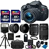 Canon EOS Rebel T5i 18.0 MP Digital Camera HD Video + EF-S 18-55mm f/3.5-5.6 IS STM Lens + EF 75-300mm f/4-5.6 III Telephoto Lens + 2x Professional Lens +High Definition Wide Angle Lens + Wireless Remote +UV Filter Kit +24GB Complete Accessory Bundle