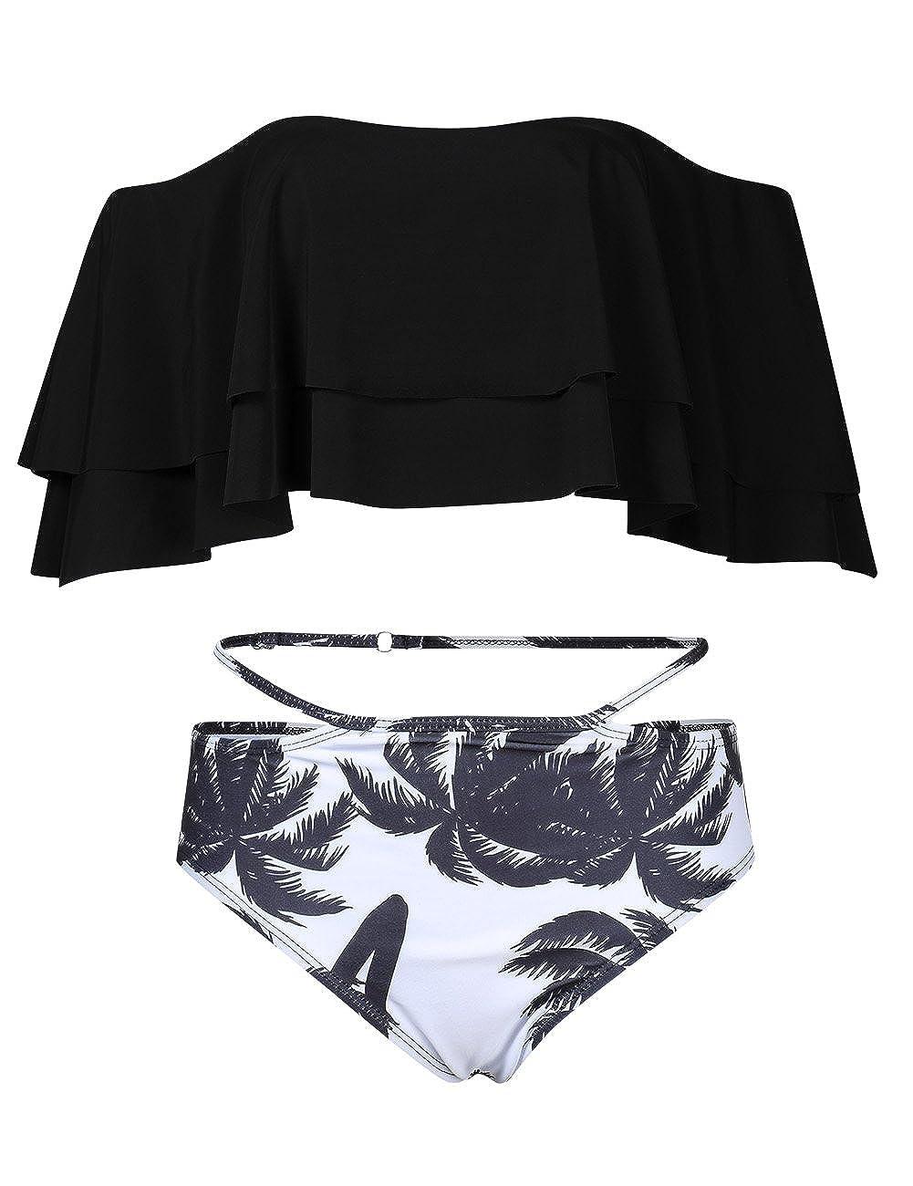 01617001a4 Chic Bikini Set: Removable padding wireless adjustable thin shoulder straps  ruffle bikini crop top + Inclined stripes ruched high waisted bikini bottom.
