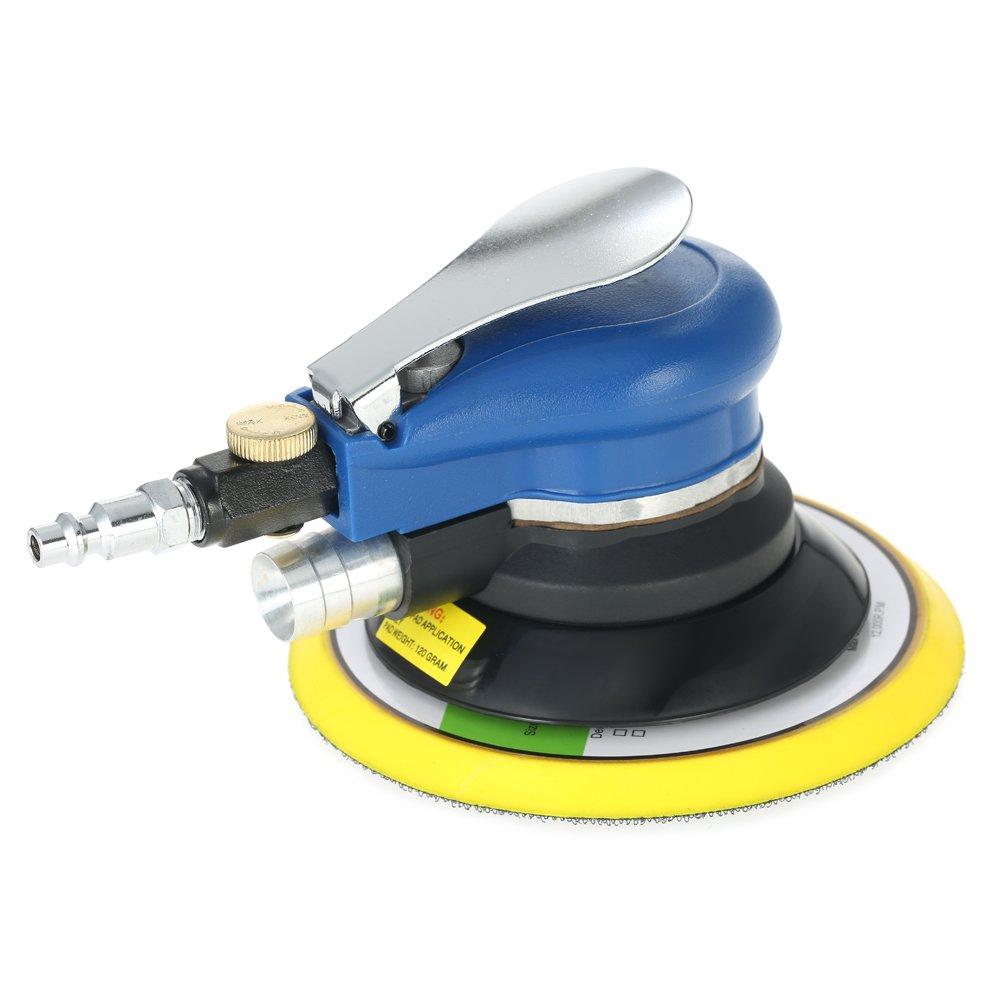 Walmeck Multifunction 6'' 10000RPM Pneumatic Palm Random Orbital Sander Polisher Dual Action Grinding Waxing Tools with Vacuuming Bag