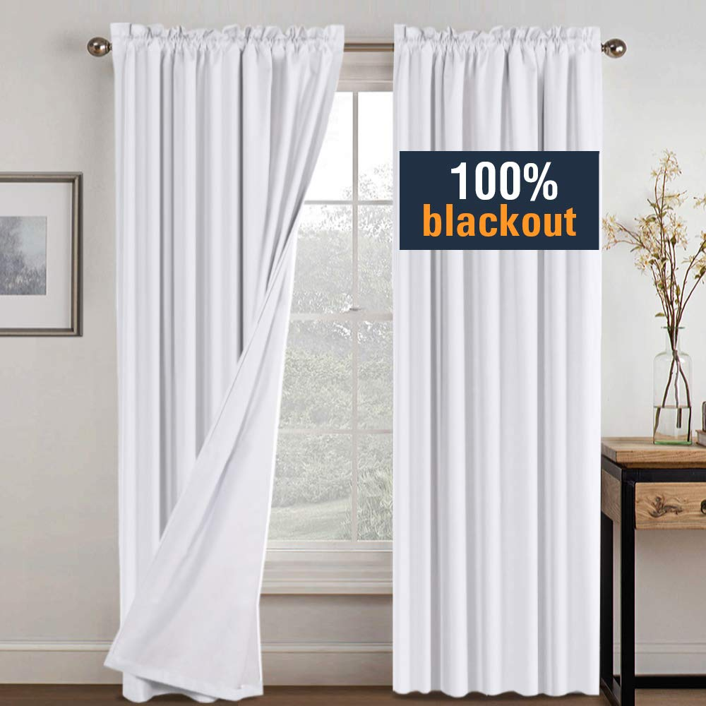 H.VERSAILTEX White Blackout Curtains for Bedroom, Faux Cotton Thermal Insulated Curtains for Living Room 96 Inch Long, Rod Pocket Waterproof Window Curtains White Backing 2 Panels, Tiebacks Included by H.VERSAILTEX