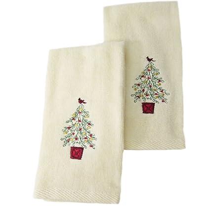 Donner & Blitzen toallas de Navidad punta de los dedos de Set de 2 árbol de