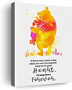 Classic Winnie The Pooh Quote If There Ever Comes a Day Poster Canvas Wall Art & Tabletop Decoration,Easel & Hanging Hook 8x10Inch,Inspirational Pooh Quotes Wall Decor Canvas Prints Gifts for Home Kids Room Nursery Bedroom Playroom Decor