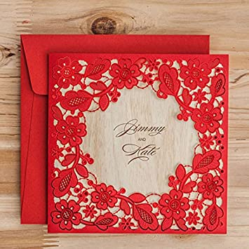 Amazon Com Laser Cut Red Lace Invitation Cards Elegant Hollow